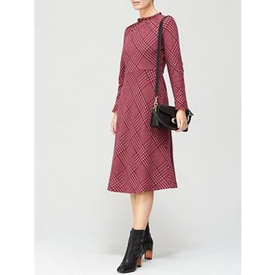 L.K. Bennett Katie Check Wool Bias Cut Dress - Pink