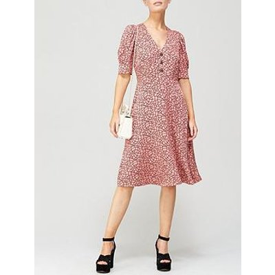 L.K. Bennett Daphne Rope Print Crystal Button Crepe Dress - Pink