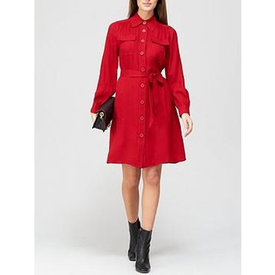 L.K. Bennett Miller Crepe Shirt Dress - Red