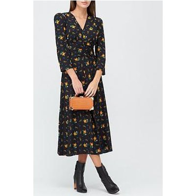 L.K. Bennett Gabrielle Forget Me Not Print Puff Shoulder Midi Dress - Black
