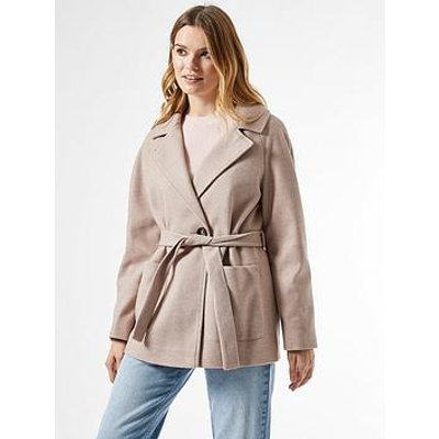 Dorothy Perkins Short Wrap Belted Throw On Coat - Oatmeal