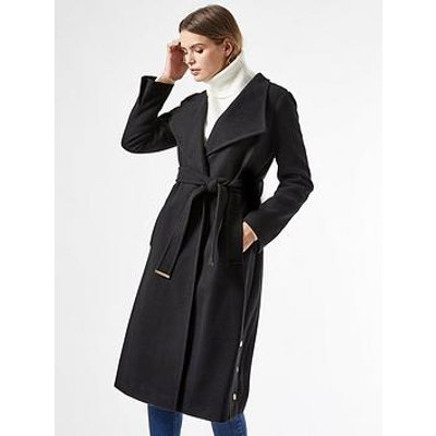 Dorothy Perkins Glossy Funnel Collar Belted Coat - Black