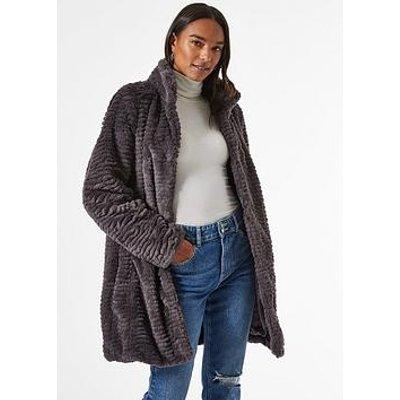 Dorothy Perkins Funnel Collar Textured Longline Faux Fur Coat - Grey
