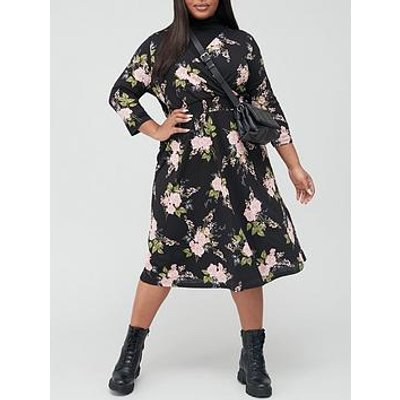 V By Very Curve Wrap Midi Dress - Floral Print