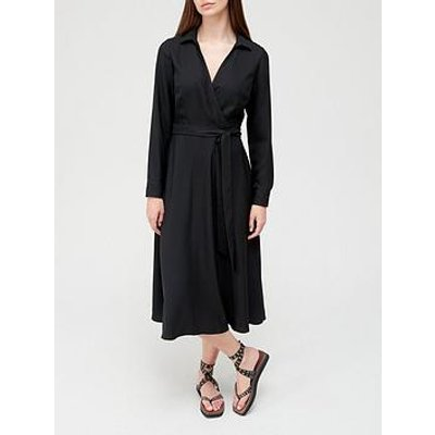 V By Very Crepe Wrap Collar Midi Dress - Black