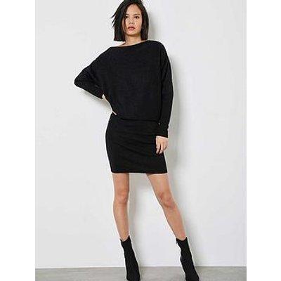 Mint Velvet Metallic Batwing Off The Shoulder Dress - Black
