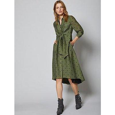 Mint Velvet Mint Velvet Khaki Spot Tie Front Midi Shirt Dress