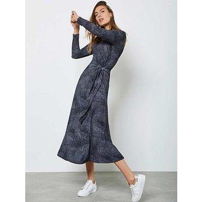 Mint Velvet Animal Print Tie Front Midi Dress - Blue