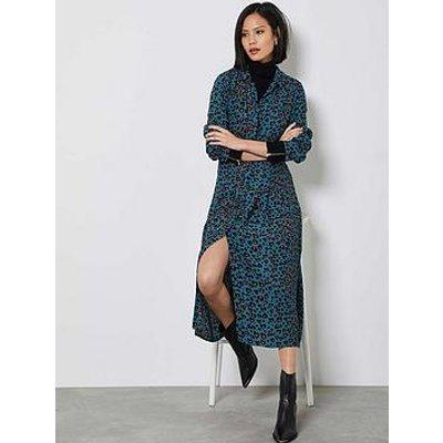 Mint Velvet Charlie Animal Print Midi Shirt Dress - Teal