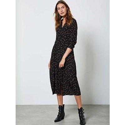 Mint Velvet Star Print Pleat Front Midi Shirt Dress - Black