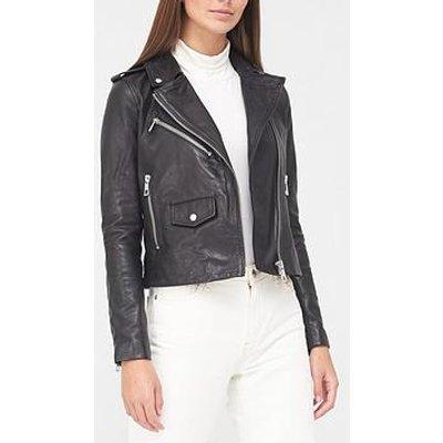 Whistles Agnes Pocket Leather Jacket - Black