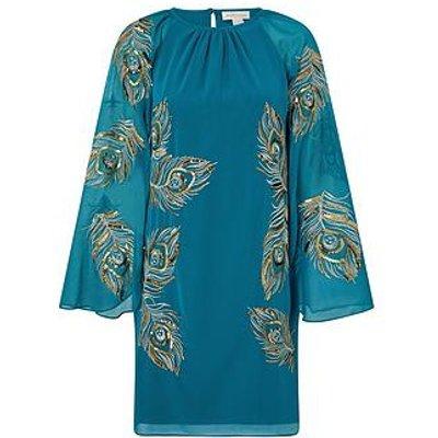 Monsoon Monsoon Cara Peacock Embroidered Cape Dress
