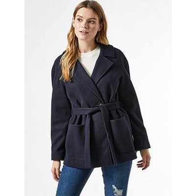 Dorothy Perkins Short Wrap Belted Throw On Coat - Navy