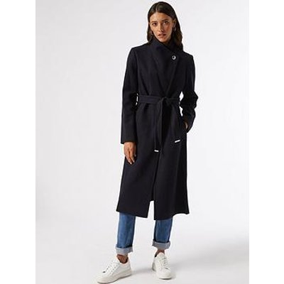 Dorothy Perkins Glossy Funnel Collar Belted Coat - Navy