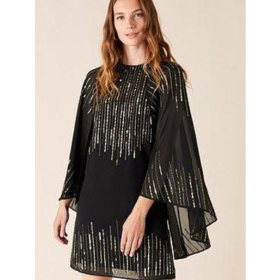 Monsoon Candida Sustainable Embellished Cape Sleeve Dress - Black