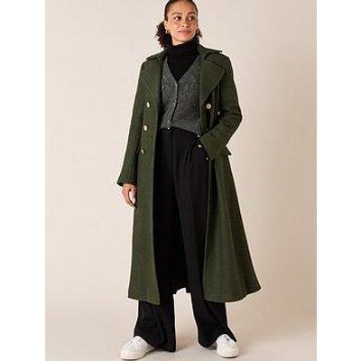 Monsoon Military Long Coat - Khaki