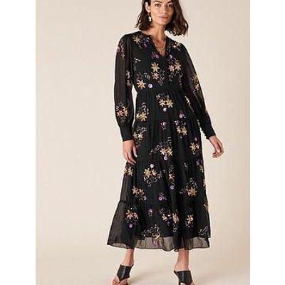 Monsoon Seraphina Embellished Tiered Midi Dress - Black