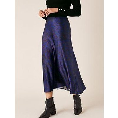 Monsoon Animal Print Satin Skirt - Blue