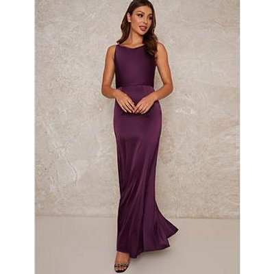 Chi Chi London Temple Bodycon Maxi Dress - Berry