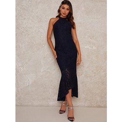 Chi Chi London Aish Lace Midi Dress - Navy