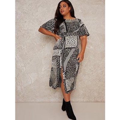 Chi Chi London Curve Vida Curve Printed Midi Dress - Monochrome
