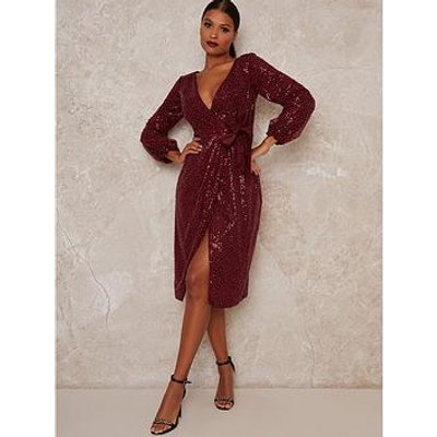 Chi Chi London Julio Sparkle Midi Dress - Burgundy