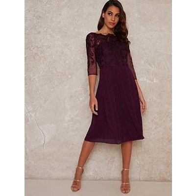 Chi Chi London Mmytilly Pleated Midi Dress - Berry