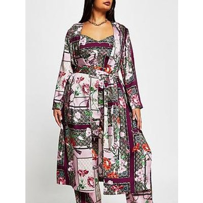 Ri Plus Printed Long Belted Duster - Pink
