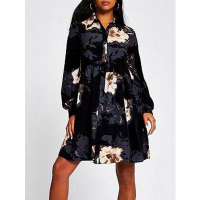 Ri Petite Floral Print Smock Shirt Dress - Black