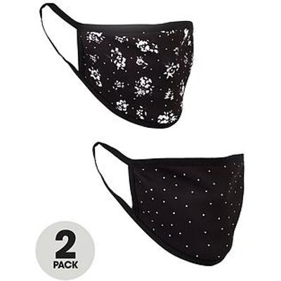 V By Very 2 Pack Face Coverings - Mono Floral/Spot Print