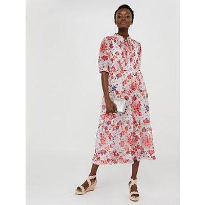Monsoon Paris Tile Printed Tiered Shirt Dress - Ivory