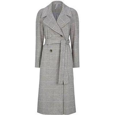 Dorothy Perkins Double Breasted Check Maxi Wrap Coat - Grey