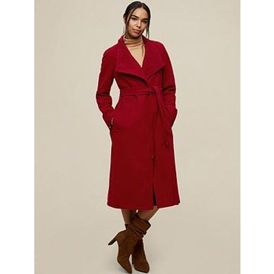 Dorothy Perkins Glossy Funnel Collar Belted Coat - Deep Red