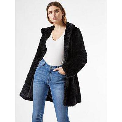 Dorothy Perkins Funnel Collar Textured Longline Faux Fur Coat - Black