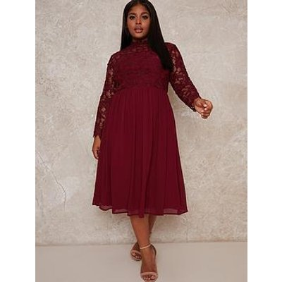 Chi Chi London Curve Ella Louise Dress - Red