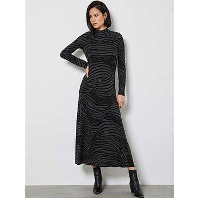 Mint Velvet Zebra Print Jersey Midi Dress - Light Grey