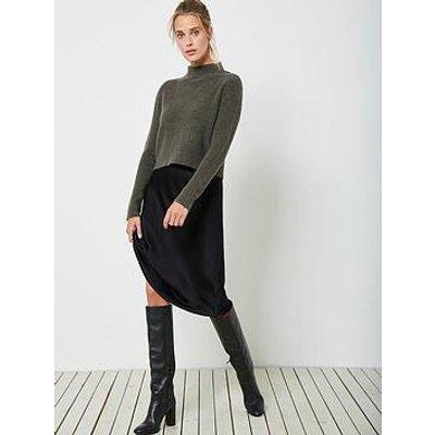 Mint Velvet Wrap Back Lace Black Slip Dress - Khaki