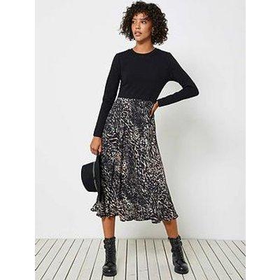 Mint Velvet Faye Animal Print Jersey Mix Dress - Neutral