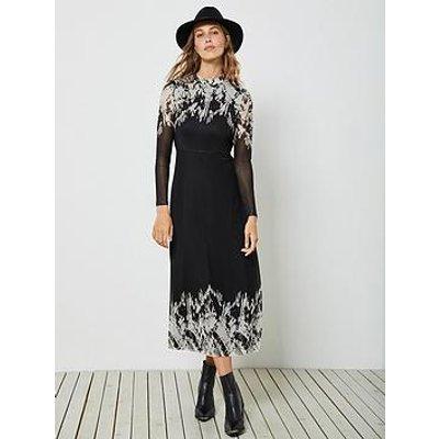 Mint Velvet Ava Placement Print Jersey Column Midi Dress - Black