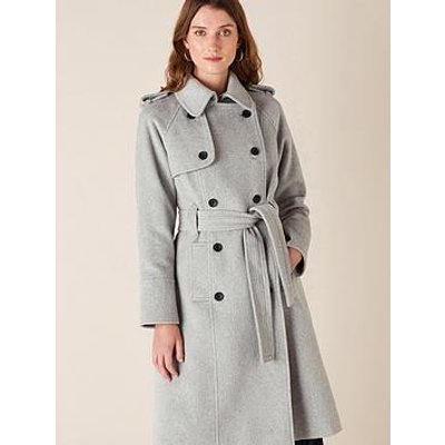 Monsoon Monsoon Grey Sustainable Wool Trench Coat