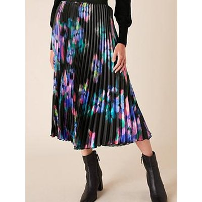 Monsoon Blur Print Pleated Midi Skirt - Black
