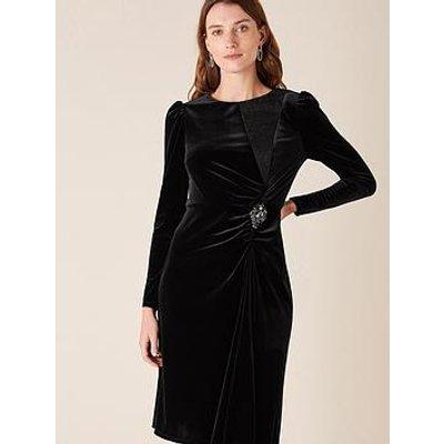 Monsoon Hannah Velvet Midi Brooch Dress