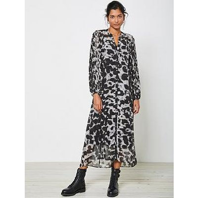 Mint Velvet Alexa Print Pleat Sleeve Shirt Midi Dress - Grey