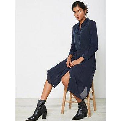 Mint Velvet Pleat Detail Jersey Sleeve Midi Shirt Dress - Ink