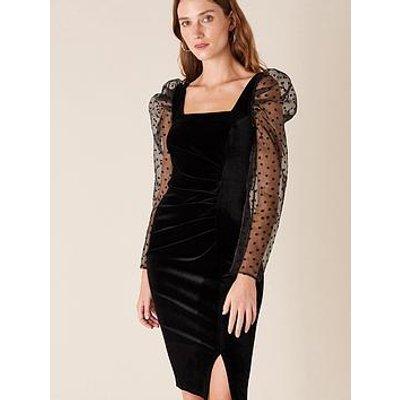 Monsoon Jane Velvet Star Organza Shift Dress - Black