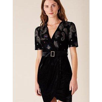Monsoon Monsoon Patrice Paisley Embroidered Velvet Dress