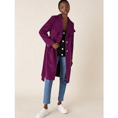 Monsoon Rita Wrap Collar Long Coat - Purple