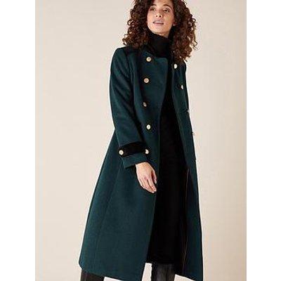 Monsoon Maddie Military Coat - Green