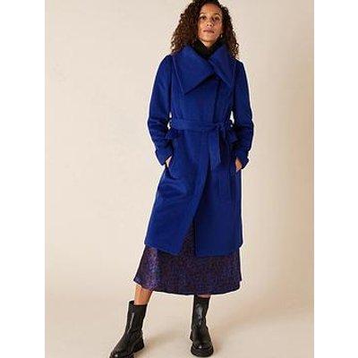Monsoon Keryn Wrap Collar Belted Coat - Cobalt