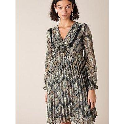 Monsoon Geometric Print Pleated Dress